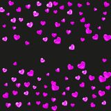 Valentine background with pink glitter hearts. February 14th day. Vector confetti for valentine background template Royalty Free Stock Images