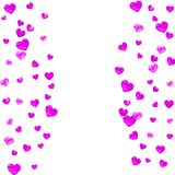 Valentine background with pink glitter hearts. February 14th day. Vector confetti for valentine background template Royalty Free Stock Photos