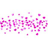 Valentine background with pink glitter hearts. February 14th day. Vector confetti for valentine background template Stock Photos