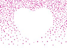 Valentine background with pink glitter hearts. February 14th day. Vector confetti for valentine background template. NValentines day frame with pink glitter Royalty Free Stock Images