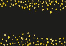 Valentine background with pink glitter hearts. February 14th day. Vector confetti for valentine background template. Valentine background with gold glitter Royalty Free Stock Photo