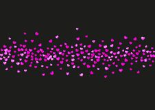 Valentine background with pink glitter hearts. February 14th day. Vector confetti for valentine background template. Grunge hand drawn texture. Love theme for Stock Image