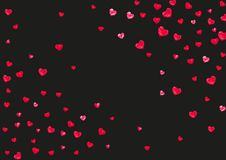 Valentine background with pink glitter hearts. February 14th day. Vector confetti for valentine background template. Valentine background with red glitter hearts royalty free illustration