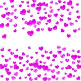 Valentine background with pink glitter hearts. February 14th day. Vector confetti for valentine background template Royalty Free Stock Photography