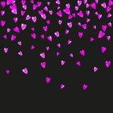 Valentine background with pink glitter hearts. February 14th day. Vector confetti for valentine background template Stock Image