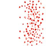 Valentine background with pink glitter hearts. February 14th day. Vector confetti for valentine background template. Valentines day heart with red glitter Royalty Free Stock Image
