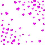 Valentine background with pink glitter hearts. February 14th day. Vector confetti for valentine background template. Valentines day card with pink glitter hearts Royalty Free Stock Images