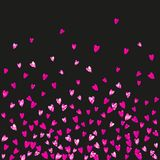 Valentine background with pink glitter hearts. February  Stock Photos
