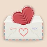 Valentine background. Realistic envelope with attached lace heart. Vector illustration Stock Photos