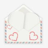 Valentine background. Realistic envelope with attached paper heart. Stock Images