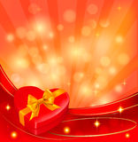 Valentine background with red gift box and ribbons Royalty Free Stock Image