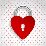 Valentine background with red heart padlock Stock Images