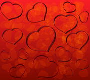 Valentine background. Background with red hearts surround Stock Photo