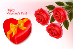 Valentine background. Red roses and a box Royalty Free Stock Image