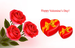 Valentine background. Red roses and a two boxes Stock Photography