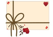 Valentine background with rope, heart, butterflies and red rose Royalty Free Stock Images