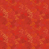 Valentine background. Seamless pattern with hearts and birds in red tones. Stock Photography