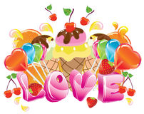 Valentine background with sweets. Fruit, berries and ice cream and love Royalty Free Stock Image