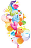 Valentine background with sweets. Fruit, berries and love, abstract wave over white Royalty Free Stock Image