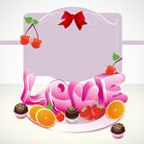 Valentine background with sweets, fruit. Berries and love on the plate Royalty Free Stock Photos
