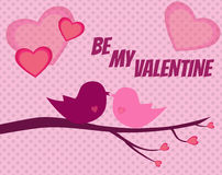 Valentine background with two birds in love with pink hearts Stock Images