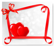 Valentine background with two red hearts Royalty Free Stock Photography