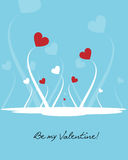 Valentine background - vector. Illustration of a background,valentine theme, with floral hearts and be my valentine text.Useful as greeting card.EPS file Stock Photography