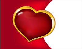 Valentine background. White and red background with red heart gold Royalty Free Stock Photo