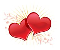 Valentine background wiht two hearts. Royalty Free Stock Photography