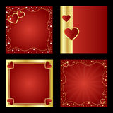 Valentine backgrounds. Set of four Valentine backgrounds with hearts and golden borders isolated on black backgrounds.EPS file available