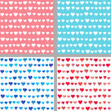 Valentine backgrounds from painted hearts. Valentines day backgrounds set. Painted hearts seamless pattern. Vector brush strokes valentine backgrounds for Stock Photo