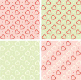 Valentine backgrounds set. Retro hearts wallpaper. Valentine backgrounds. Hearts, love symbol on wallpaper. Retro style decor in pastel colors Stock Images