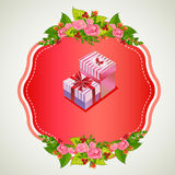 Valentine badge gift box. Badge for valentine event. file in eps 10 file, with no gradient meshes, blends,opacity, stroke path,brushes. Also all elements grouped Stock Photos