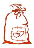 Valentine bag with hearts Royalty Free Stock Image