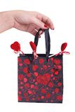 Valentine bag of hearts Stock Image
