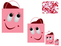 Valentine bag and seamless pattern. Royalty Free Stock Photos