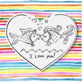 Valentine, baiser du dessin de deux poissons Photo stock