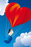 Valentine balloon. Red balloon in a shape of a heart stock illustration