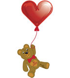 Valentine balloon with teddy. Illustration of a teddy bear holding a Valentine balloon stock illustration