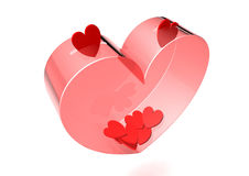 Valentine bank. Transparent heart-shaped box with deposit slots to save valentines vector illustration