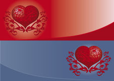 Valentine banner. Blue and red valentine banners, Heart banner, Valentine banner, tattoo ornament, symbol of love Stock Image