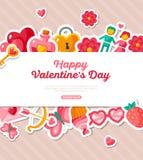 Valentine Banner avec la frontière plate d'icônes Image stock