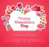 Valentine Banner avec le cadre de forme de coeur Photos libres de droits