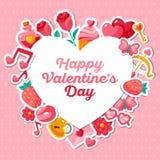 Valentine Banner avec les icônes plates Images stock