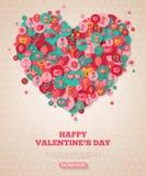 Valentine Banner com coração liso dos ícones ilustração stock