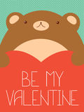 Valentine banner with cute bear and heart Royalty Free Stock Photos