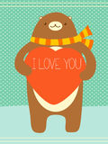 Valentine banner with cute bear and heart Stock Photos