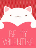 Valentine banner with cute cat Stock Images