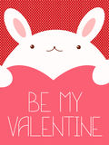 Valentine banner with cute rabbit Royalty Free Stock Photos