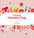 Valentine Banner with Flat Icons Border Stock Image